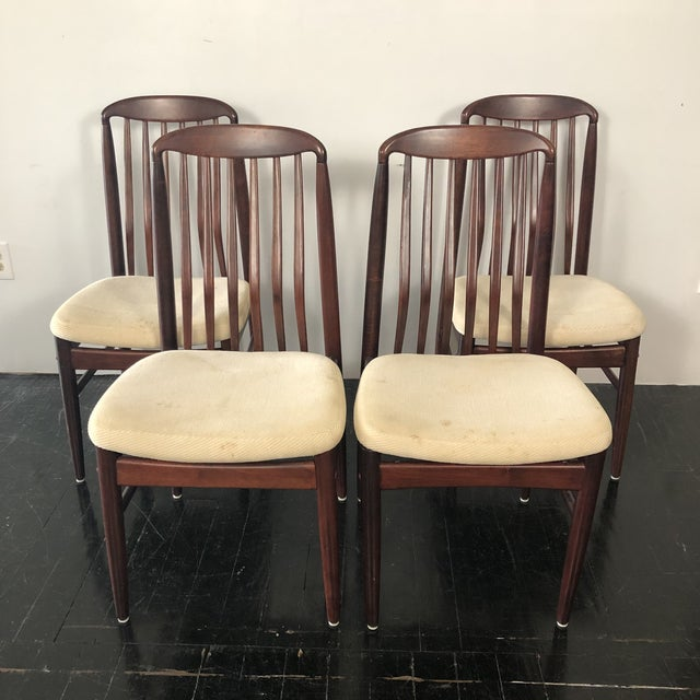 Set of 4 Rosewood Dining Chairs by Benny Linden. Elegant sculptural back design also creates superior ergonomic comfort!...