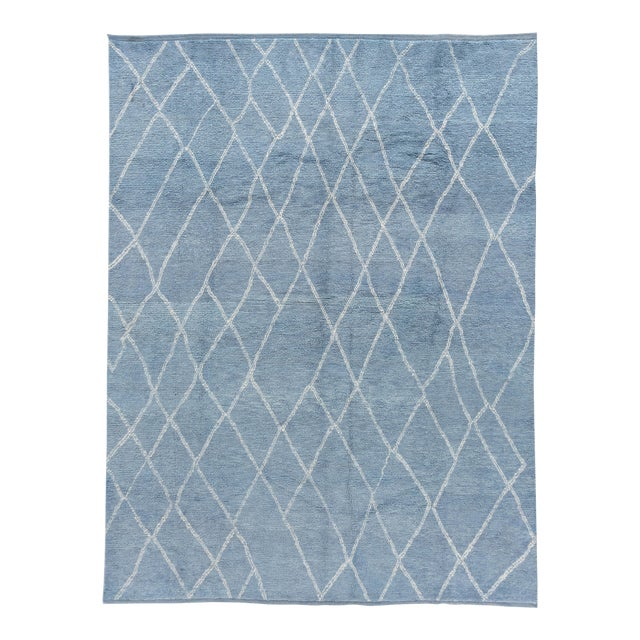 """Blue Moroccan Rug, 9'4"""" X 11'9"""" For Sale"""