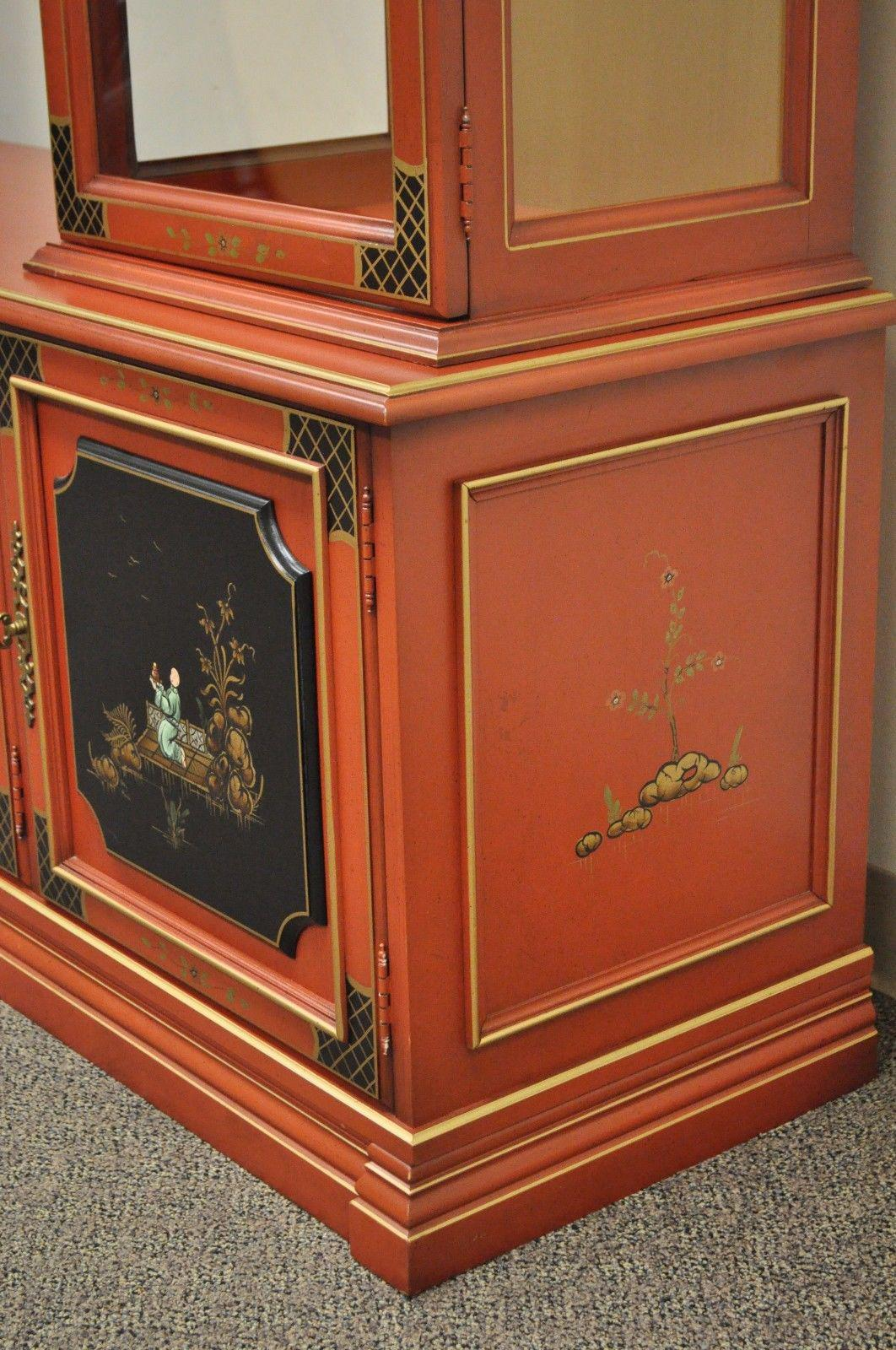 Vintage Jasper Oriental Chinoiserie Red Display China Cabinet Curio  Credenza   Image 6 Of 12