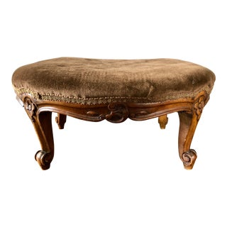 Antique French Brown Velvet Footstool For Sale