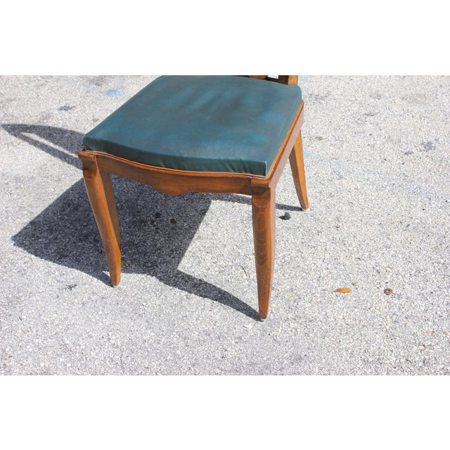 1940s French Art Deco Solid Mahogany Dining Chairs by Jules Leleu - Set of 6 For Sale - Image 9 of 13