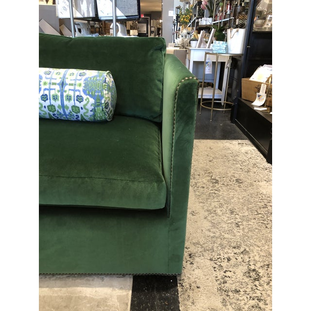Wood Keeneth Ludwig Chicago Highland House Emerald Green Velvet Sofa For Sale - Image 7 of 11
