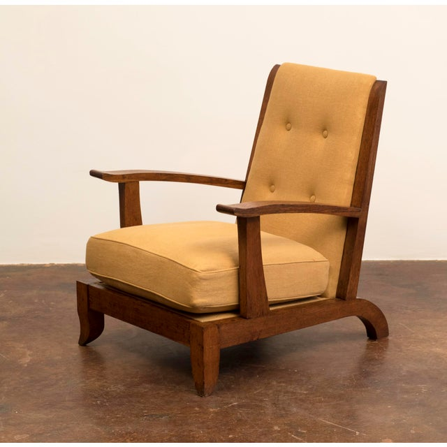 1940s Pair of French Lounge Chairs in Oak and Belgian Linen, 1940s For Sale - Image 5 of 13