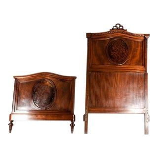 19th C. French Burl Walnut Single Beds For Sale