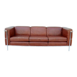 1980s Mid-Century Modern Jack Cartwright Le Corbusier Brown Leather Sofa For Sale