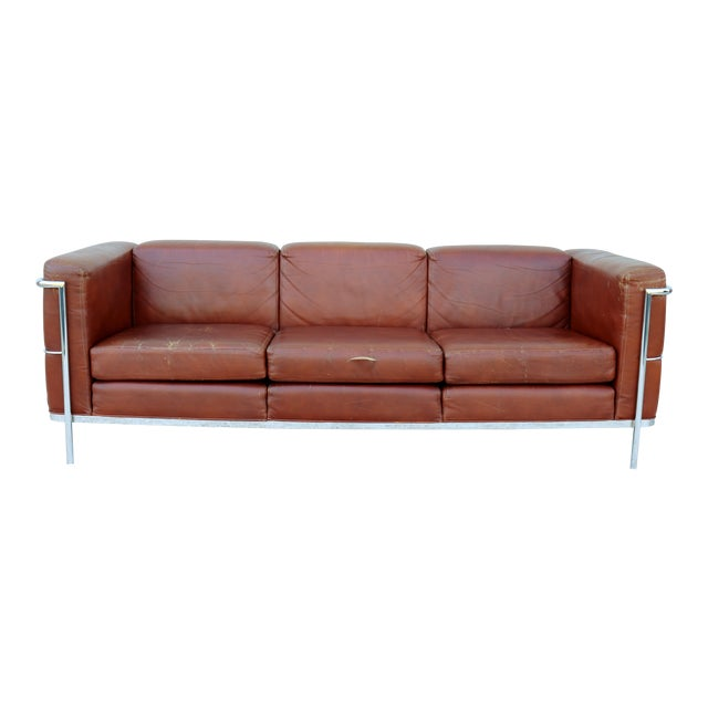 1980s Mid-Century Modern Jack Cartwright Le Corbusier Brown Leather Sofa