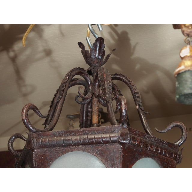French Provincial French Iron Lantern For Sale - Image 3 of 7