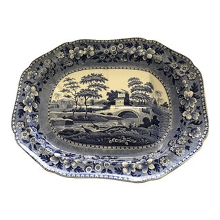 Blue and White Spode Carving Serving Platter 21 X 16 X 5 H For Sale