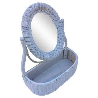 Vintage Wicker Vanity Mirror Basket