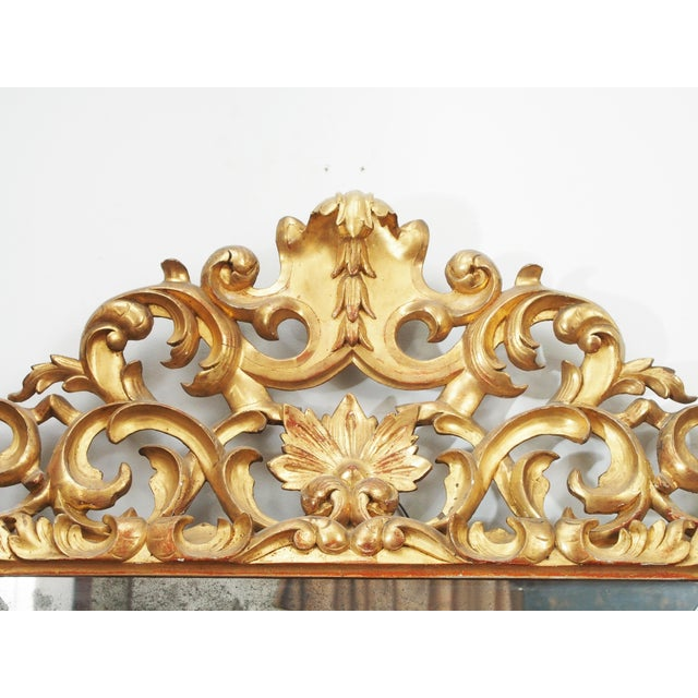 Rococo LARGE GILDED AND PIERCED CUSHION MIRROR For Sale - Image 3 of 8