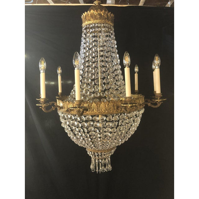 Large French Antique Louis XVI Style Bronze and Crystal Chandelier For Sale - Image 10 of 11