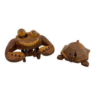 John W. Benbow Whimsical Wooden Crab & Turtle Sculptures 20th C. For Sale