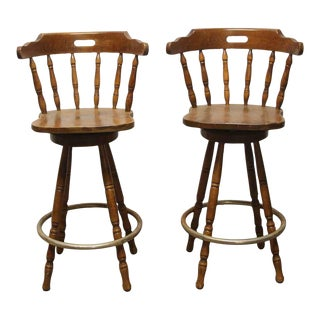 Traditional Wood Captain Swivel Bar Stools- A Pair For Sale