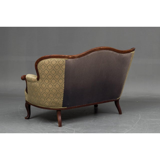 Tan Early 20th Century, Danish Sheraton Style Loveseats in Mahogany For Sale - Image 8 of 9