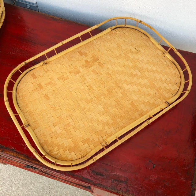 Vintage Mid Century Rattan Serving Trays - Set of 3 For Sale - Image 4 of 12