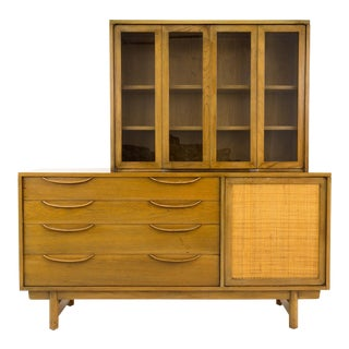 Mid-Century Modern Lawrence Peabody Caned Door China Cabinet For Sale