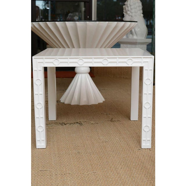 Modern Modern White Lacquered Graphic and Sculptural Side Tables - a Pair For Sale - Image 3 of 10
