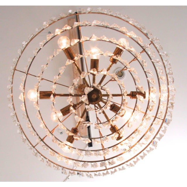 Palwa Extraordinary Huge Palwa Gilded Brass and Crystal Glass Chandelier For Sale - Image 4 of 8
