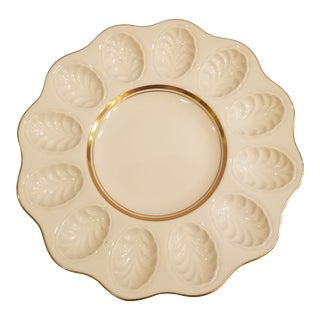 Lenox Round Egg Plate with 24k Gold Trim For Sale
