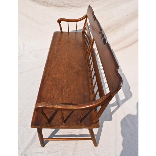 Late 19th Century Pennsylvania Plank Half Spindle Bench For Sale - Image 5 of 12