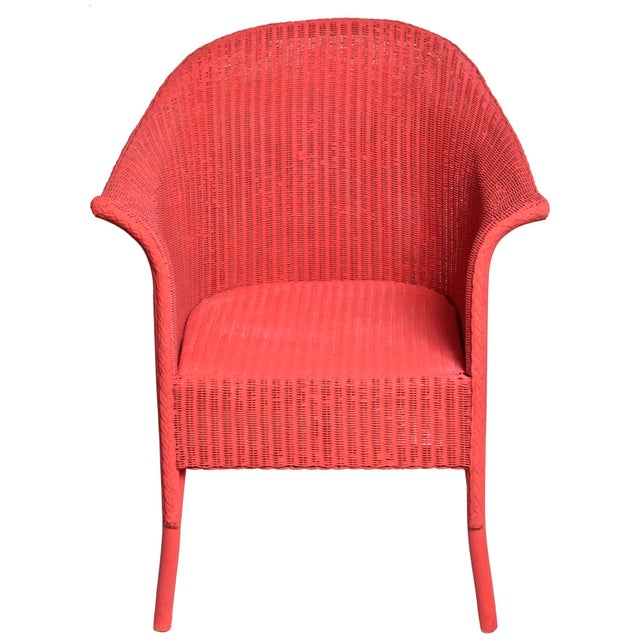 Wicker Vintage Coral Wicker Chair For Sale - Image 7 of 7