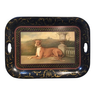 1990s Italian Greyhound Painted Tole Tray For Sale