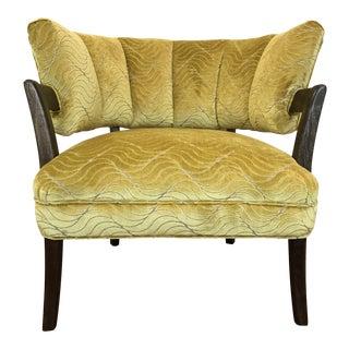 1940s Vintage Billy Haines Era Channel Back Chair Jane Churchhill Velvet Chartruse For Sale