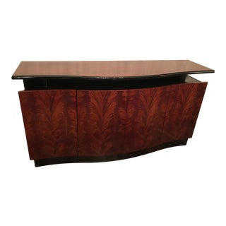 1980s Vintage Art Deco Inspired Burl Wood Dining Buffet For Sale