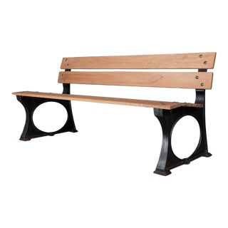 1920s French Iron and Mahogany Park Bench