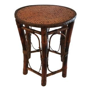 Vintage Bamboo & Cane Round Side Table For Sale