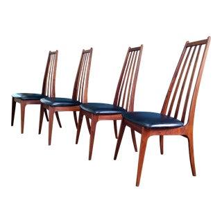 Henry P. Glass for Richbilt Mid Century Modern Danish Walnut Chairs - Set of 4 For Sale
