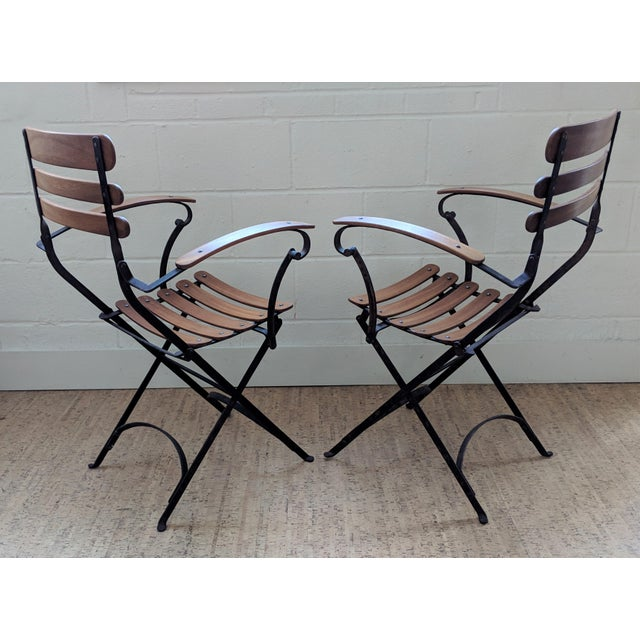 1940s French Country Antique Iron & Teak Garden Chairs – a Pair For Sale - Image 5 of 12