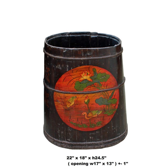 Asian Distressed Chinese Tibetan Barrel Shape Black Floral Bucket Wood Container For Sale - Image 3 of 8