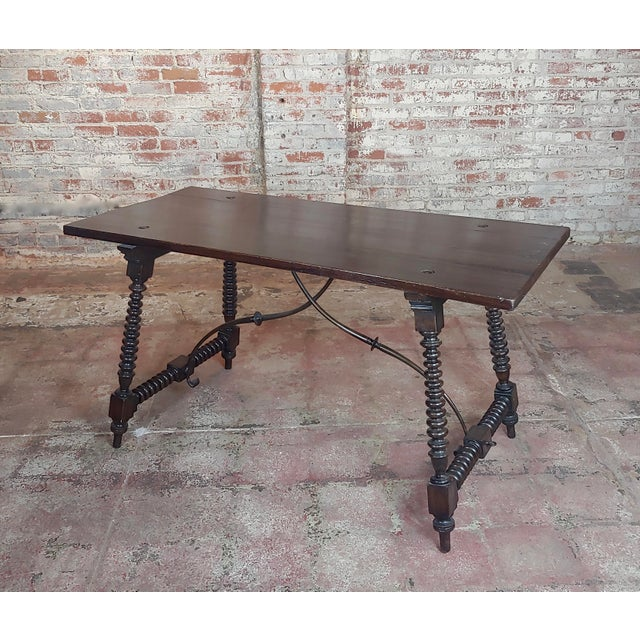 20th Century Spanish Revival Walnut Table With Iron Stretcher Bars For Sale - Image 12 of 12