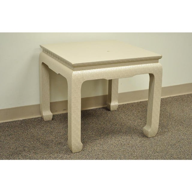 Vintage James Mont for Baker Asian Lacquered Grasscloth Occasional Side Accent Table - Image 2 of 11