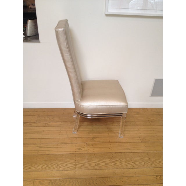 Vintage Lucite Upholstered Chairs - Set of 4 - Image 3 of 4