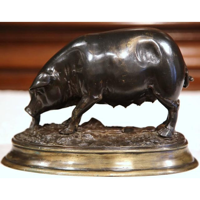 19th Century French Patinated Bronze Pig Sculpture Signed E. Delabrierre - Image 2 of 10