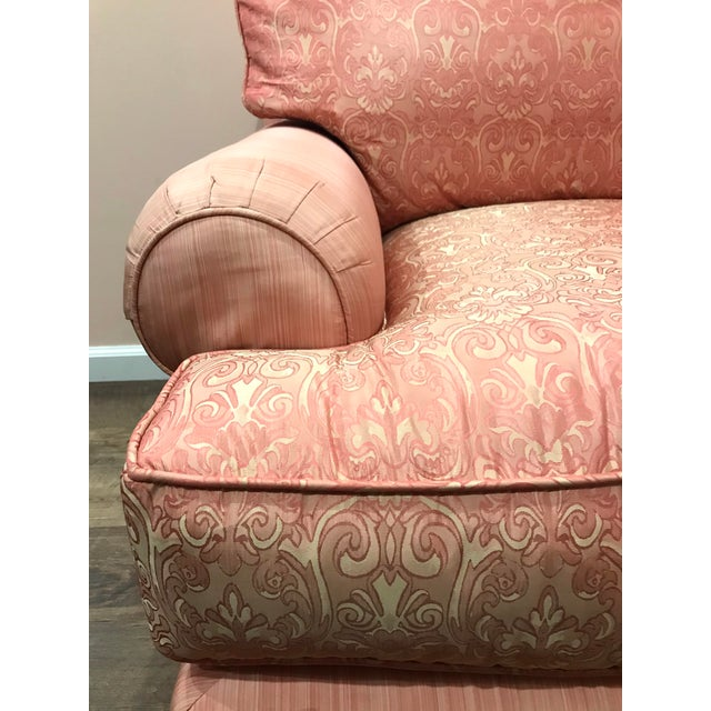 French Vintage Mid Century French Silk Damask Swivel Chair For Sale - Image 3 of 13