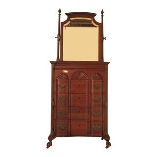 Antique Chippendale Style Block Front Mahogany Chest with Mirror For Sale