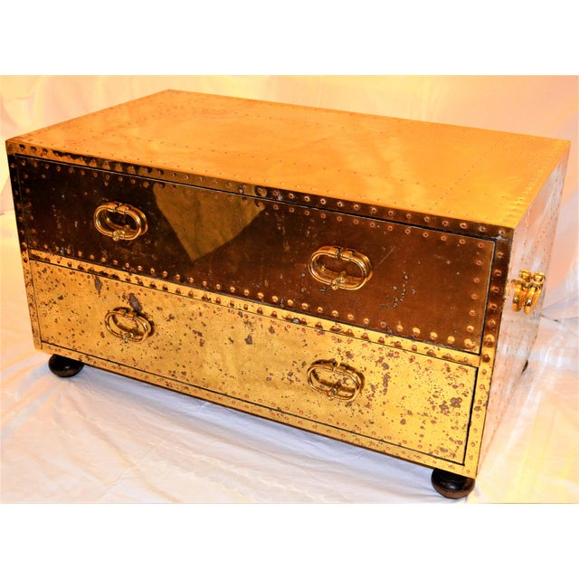 (Final Markdown) 1970s Hollywood Regency Sarreid Brass Clad Two Drawer Chest For Sale - Image 11 of 12