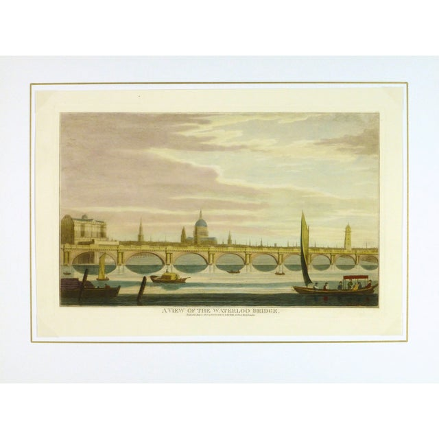 English Traditional Waterloo Bridge Print, London Engraving For Sale - Image 3 of 3
