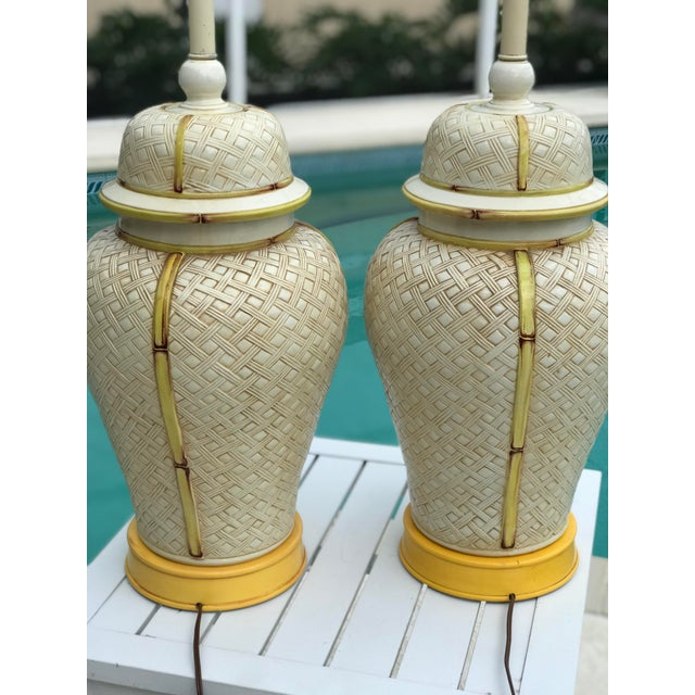Faux Bamboo Vintage Faux Bamboo Basket Weave Ginger Jar Lamps-Pair For Sale - Image 7 of 11
