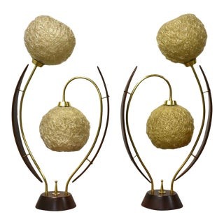 Walnut & Brass MCM Flower Lamps- a Pair For Sale