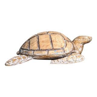 Vintage Hand Carved Wooden Turtle Box For Sale