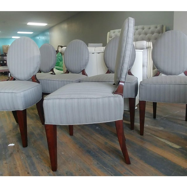 2010s Henredon Furniture Barbara Barry Walnut Oval Back Side Chairs - Set of 6 For Sale - Image 5 of 11