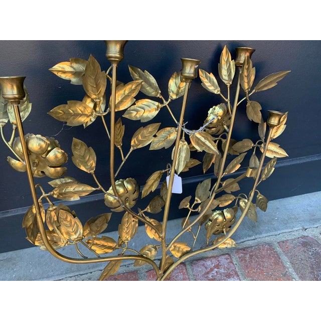 Italian 1960 Vintage Italian Brass Candle Wall Sconce For Sale - Image 3 of 5