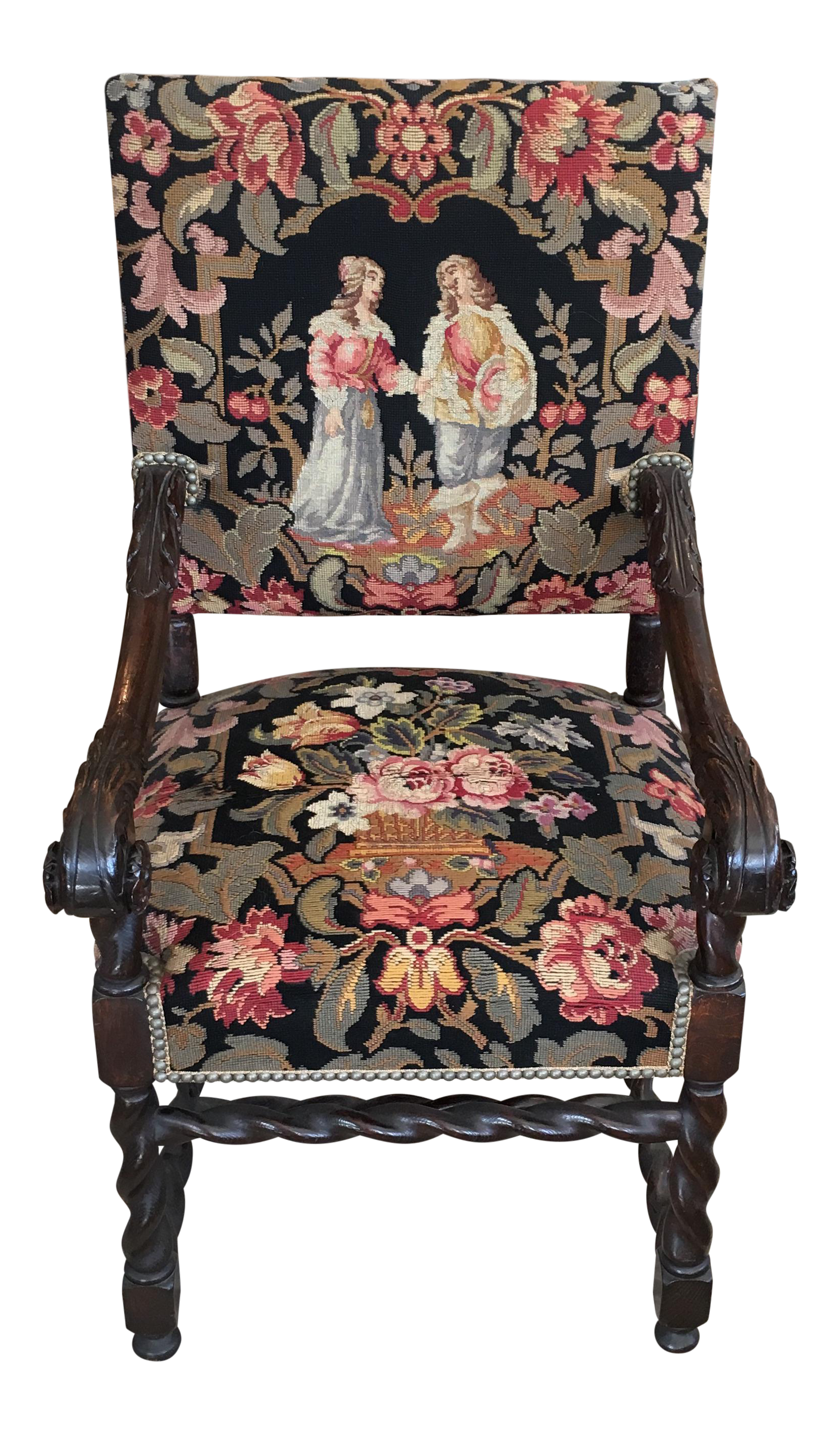 Antique 18th C. French Tapestry Throne Chair