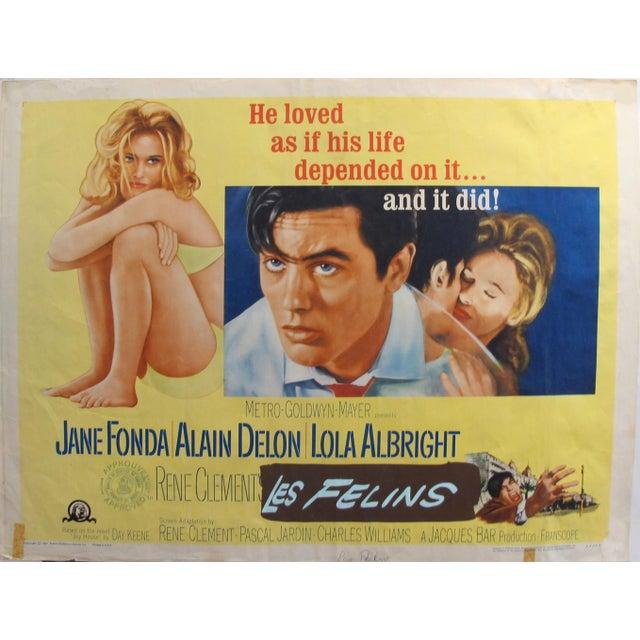 "Paper 1964 Original American Movie Poster - ""Joy House"" (Les Félins) With Jane Fonda & Alain Delon For Sale - Image 7 of 7"