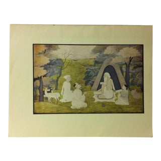 """1948 """"The Poet Valmiki - Teaching the Ramayana to Kusa and Lava"""" Mounted Color Print of a Rajput Painting For Sale"""