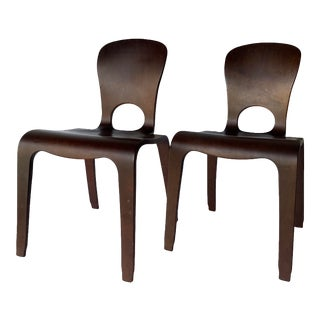 Thaden Style Bent Plywood Walnut Chairs, a Pair. For Sale